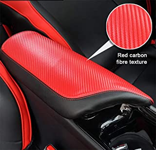 BeHave Autos CHR Armrest Cover Carbon Fiber Pattern Armrest Box Cover fit for Toyota CHR 2018 2019 Central Console Armrest Box, Red Carbon Fiber Pattern with Black Stitches