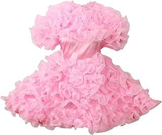 ee98575704 GOceBaby Sissy Lockable Pink Satin Organza Puffy Dress Uniform Costume