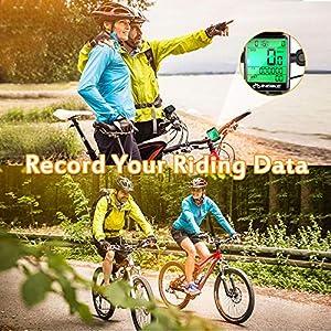 Hospaop Ciclocomputador Inalámbrico, IP66 impermeable con cuentakilómetros para bicicleta, 23 funciones velocimetro Bicicleta Retroiluminación LCD, velocidad y control de velocidad real
