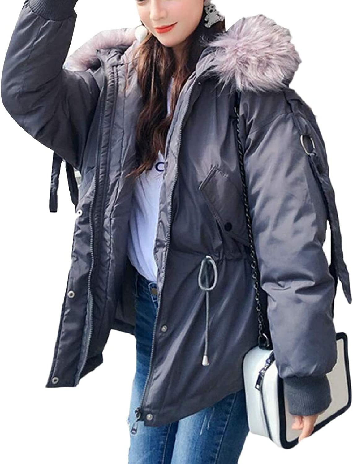 RGCA Women's FauxFur Collar Zipper Relaxed Fit Quilted Warm Down Jacket Coat