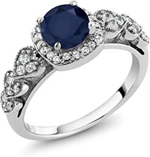 Sterling Silver Round Blue Sapphire Gemstone Birthstone Ring 1.32 cttw (Available 5,6,7,8,9)