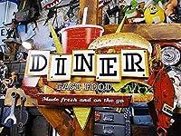 【220137】キッチンをダイナー風にしたいならこの1枚ダイナー・ロードサインのU.S.ヘヴィースチールサイン/アメリカ雑貨/看板/店舗看板