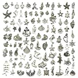 JIALEEY Wholesale 100 Pieces Mix Antique Silver Charm Pendant Collection DIY Jewelry Supply for Necklace Bracelet Dangle Jewelry Making and Crafting, Sea Animals Styles