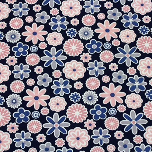 Neumann Handelsvertrieb Jersey Stoff 100{f696452bfb8f6751538b7279a9d7c42206277ee1b86f5df0993ff1b56700c713} Baumwolle 165 cm Breit (50 x 165 cm, Blumen Blau Rosa)