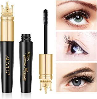 Waterproof Mascara, Natural 4D Silk Fiber Lash Mascara, Lengthening and Thick, Smudge-Proof Eyelashes, Long Lasting Queen Mascara, Dramatic Extension, Long Lasting Charming Eye Makeup