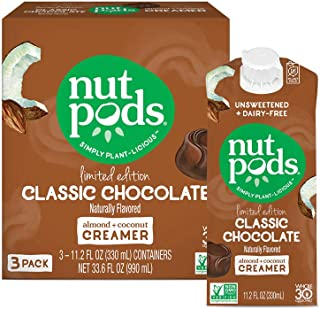 nutpods Classic Chocolate, Unsweetened Dairy-Free Liquid Coffee Creamer Made From Almonds and Coconuts (3-pack)