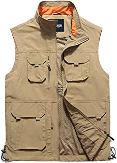 XXT Vest Multi-Pocket Spring Sleeveless Large Size Tooling Casual Thin Coat Practicality (Color : Khaki, Size : L)