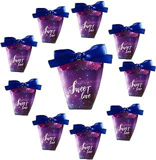 Doitsa 10 Cajas de Caramelos de Boda de Fiesta, Caja de Regalo Sweet Love Violeta
