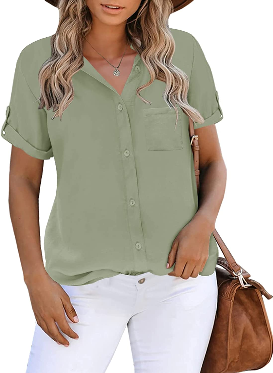 Inorin Womens Button Down Shirts Short Sleeve Collared Work Business Office Casual V Neck Tops Blouses
