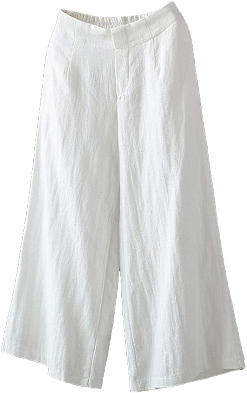 Andongnywell Womens Casual Loose Elastic Waist Cotton Trouser Cropped Wide Leg Pants Cotton Linen Pants