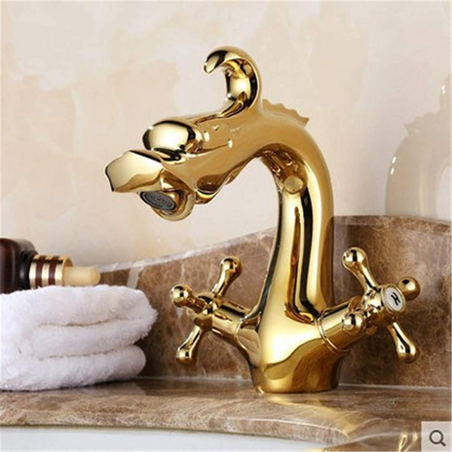 Decorry European High-Grade gold All-Copper Basin Faucet Washbasin Mixer Faucet Hot and Cold Taps Animal A