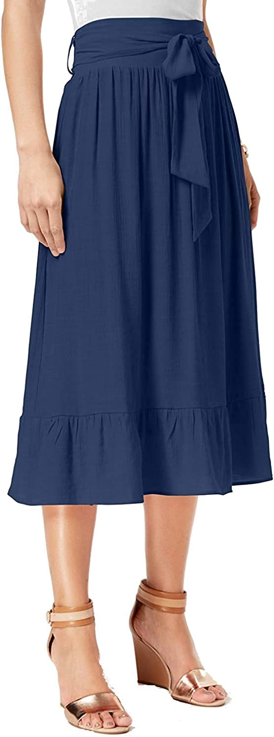 NY Collection Womens Petites Belted Ruffled Midi Skirt