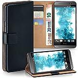 MoEx® Booklet mit Flip Funktion [360 Grad Voll-Schutz] für HTC One M8 | Geldfach & Kartenfach + Stand-Funktion & Magnet-Verschluss, Schwarz