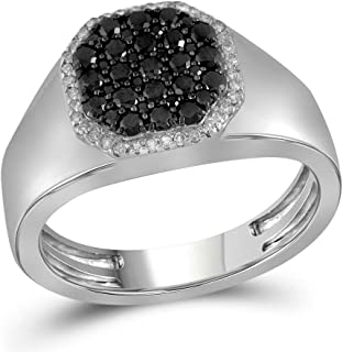 The Diamond Deal 10kt White Gold Mens Round Black Color Enhanced Diamond Octagon Frame Cluster Ring 3/4 Cttw
