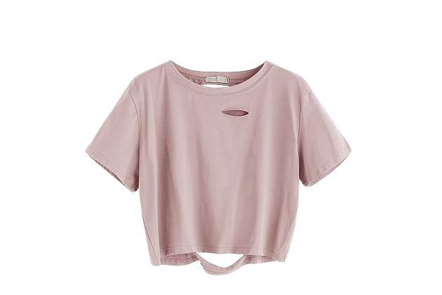 ae468194f89 SweatyRocks Women's Summer Short Sleeve Tee Distressed Ripped Crop T-Shirt  Tops