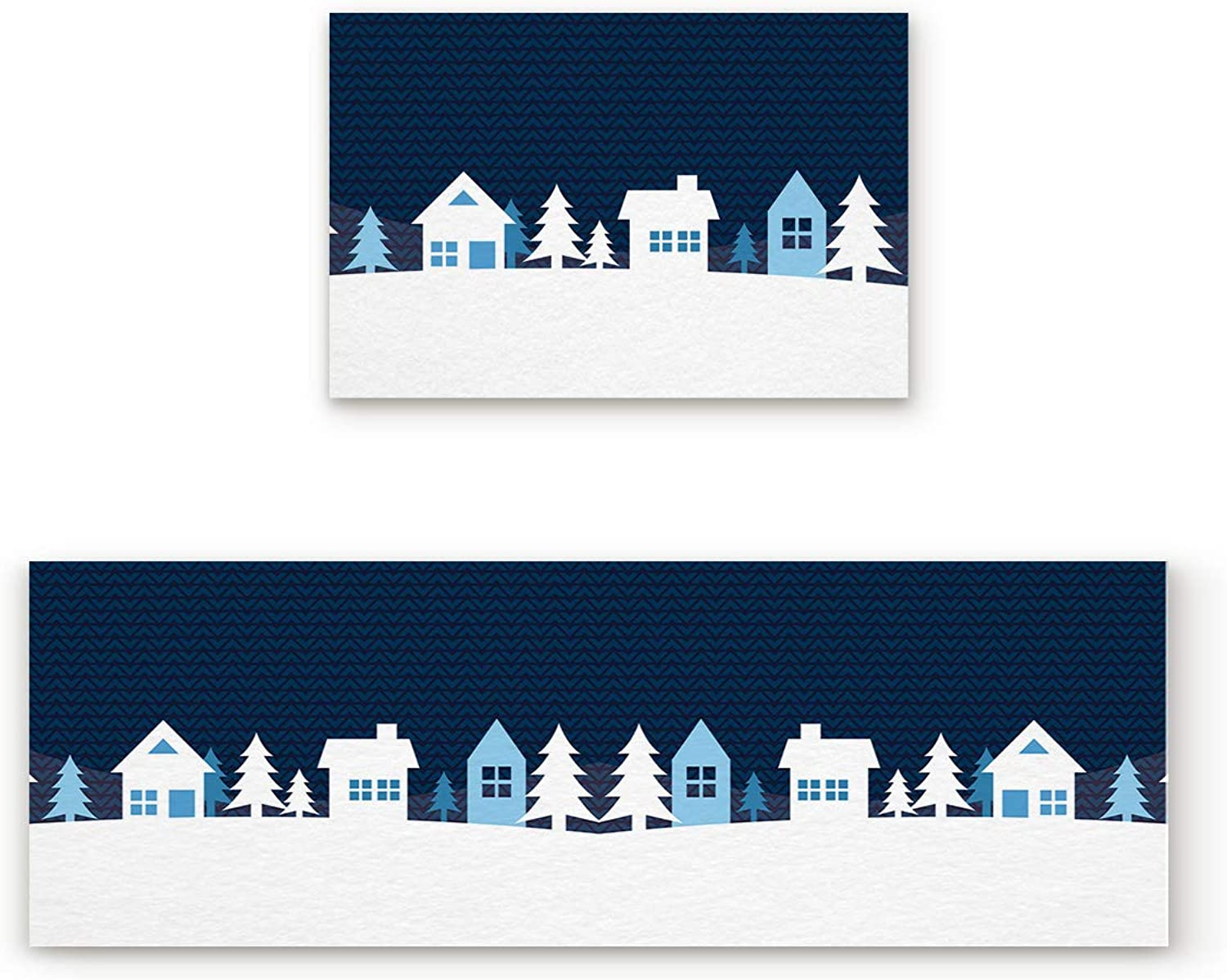 Aomike 2 Piece Non-Slip Kitchen Mat Rubber Backing Doormat Simple Winter House Runner Rug Set, Hallway Living Room Balcony Bathroom Carpet Sets (19.7  x 31.5 +19.7  x 63 )