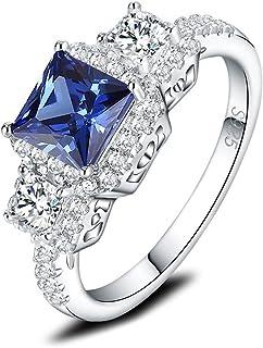 Mozume 925 Sterling Silver Simulated Tanzanite CZ Ring Engagement Princess Cut