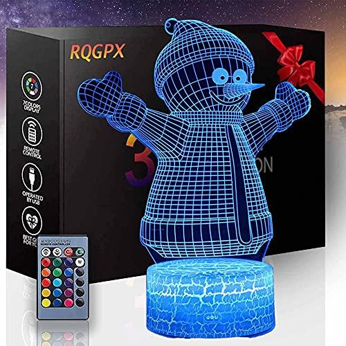 Lámpara de ilusión óptica de muñeco de nieve 3D para niños, regalo de Navidad, regalo de cumpleaños, ventilador de juego