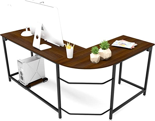 Hago Modern L Shaped Desk Corner Computer Desk Home Office Study Workstation Wood Steel PC Laptop Gaming Table