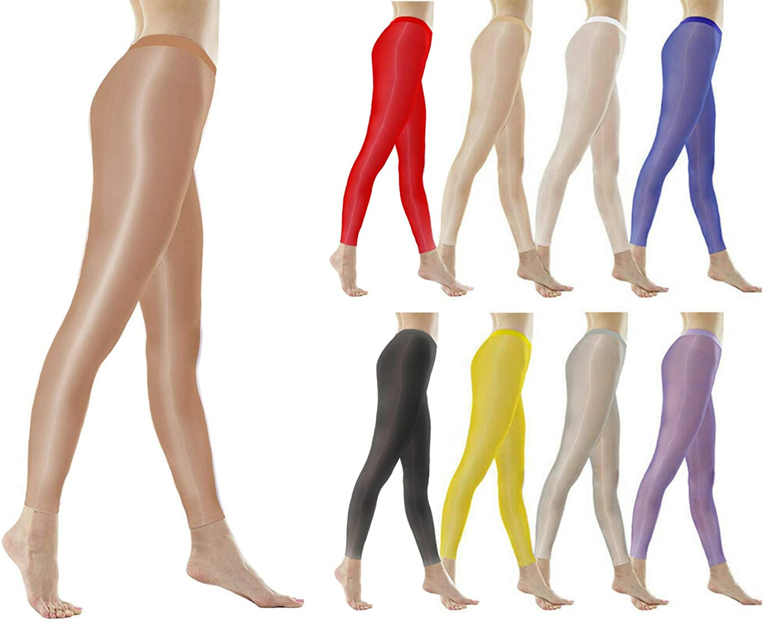leesuo 9pcs/Set Women's Sexy Plus Size 8D Oil Shiny Glossy Stockings Transparent Shimmery Footless Tights