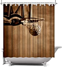 ArtBones Shower Curtain Basketball Theme Boys Sports Decor Waterproof Polyester Fabric with 12 Hooks 72x72