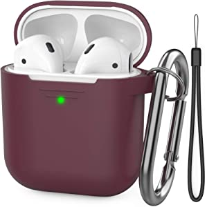 AhaStyle AirPods Case for Girls Women, Premium Silicone Protective Case Cover Accessories Compatible with Apple AirPods 2 & 1(Burgundy)