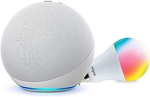 Echo Dot (4th Gen, White) + Wipro 9W LED Smart Color Bulb combo - Works with Alexa - Smart Home starter kit