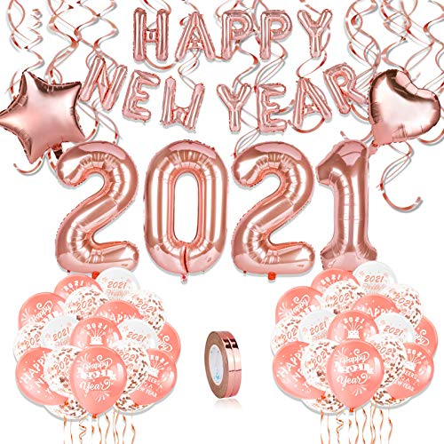 HOWAF Decorazioni Capodanno 2021, Oro Rosa Festone di Buon Anno Happy New Year Palloncini , Palloncini Giganti 2021, Spirale, Oro Rosa Capodanno Palloncino in Lattice Palloncini coriandoli