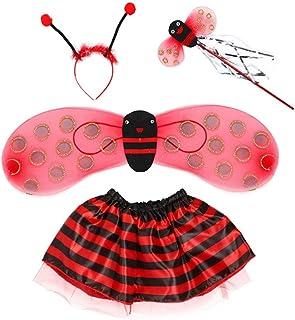 NUOBESTY 1 Set Bumble Bee Costume Set Wings Fairy Wand Tutu Headband Costume Kids Fairy Christmas Fancy Dress Up Party Sup...