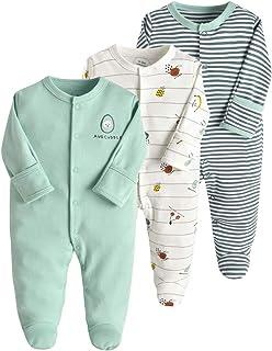 Minizone Baby Schlafstrampler 3er Pack Unisex Pyjamas Baumwolle Strampler, Langarm Overalls für Jungen Mädchen, mit Perfekt für Geschenk 9-12 Monate