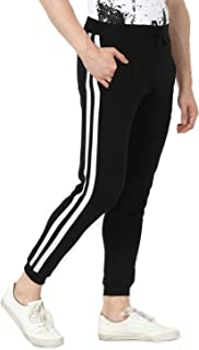 Alan Jones Clothing Men's Side Tape Cotton Slim Fit Joggers Track Pants