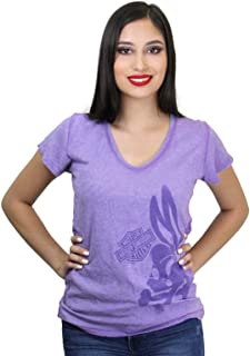 Womens WB Lola Bones Seam Dye V-Neck Purple Short Sleeve T-Shirt
