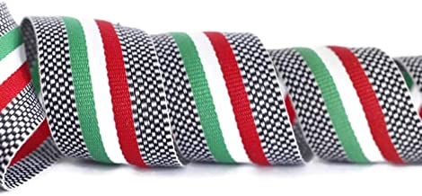 10 Yards 1.18 inch Wide mm Red White and Green Striped Ribbon, Square Trim, Grosgrain Ribbon, Ribbon, Double Faced Gross Grain Trim, Italian Flag Ribbon, Ribbons