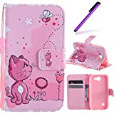 LG K3 2017 Case, LEECOCO Fancy Paint Design Wallet Case with Card Slots Shockproof Colorful Floral PU Leather Flip Stand Magnetic Case Cover for LG K3 (2017) with 1 Stylus Pen,Pink Cat