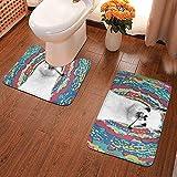 GABRI Juego de alfombras de baño de 2 Piezas Drama Llama Fumar Espiral Tinte en Forma de U Alfombras de Contorno y alfombras de baño Absorbente Antideslizante