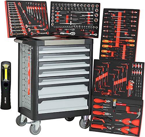 Trolley para taller Ultra Black Red Edition, 7 cajones - 5 llenos de...