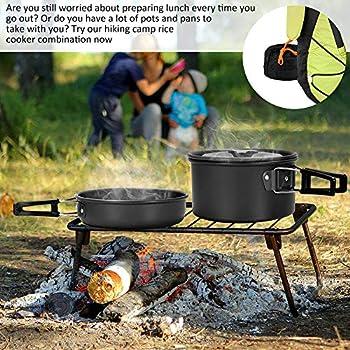 kitwin Kit de Casseroles Camping Réchaud Camping Pot Poêle Ustensiles de Cuisine de Camping en Aluminium Durable Compact Portable Pliable pour 2-3 Personnes Pêche Randonnée Pique-Nique