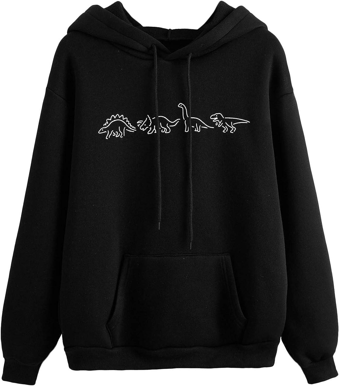 SweatyRocks Women's Casual Long Sleeve Graphic Drawstring Hooded Sweatshirt Tops with Pocket