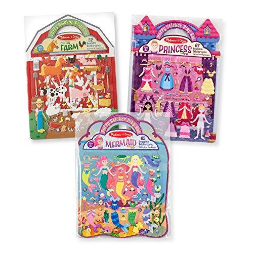Melissa & Doug Reusable Puffy Sticker Play Set 3 Pack: On The Farm  Princess and Mermaid