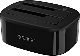 ORICO Hard Drive Docking Station SATA to USB3.0 HDD SSD Dual-Bay External Hard Drive Enclosure with Offline Clone/Duplicator Function for 2.5/3.5inch Hard Disk Support UASP (2 x 10TB)