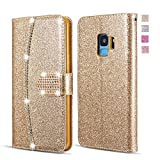 UEEBAI Wallet Flip Case for Samsung Galaxy J6 Plus, Glitter