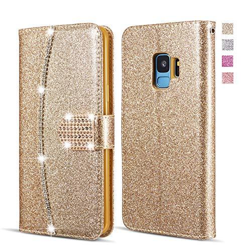 UEEBAI Brieftasche Hülle für Samsung Galaxy S9, Premium Glitzer PU Leder Handyhülle mit Diamant Schnalle [Kartenslots] [Magnetverschluss] Ständer Funktion Strass Weich TPU Schutzhülle - Gold