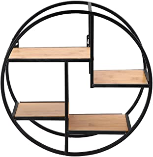 Zerone Round Wall Shelf, Industrial Style Iron Craft Round Floating Shelf Wall Display Rack Storage Unit with Wood Divider for Home Office, 37 x 37 x 14cm / 14.57 x 14.57 x 5.51inch
