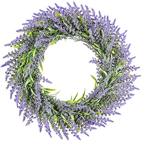 Lvydec Artificial Lavender Wreath Decoration, 16' Green Leaves Lavender Door Wreath for Farmhouse Wall Home Decoration