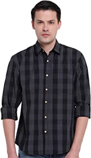 GHPC Checkered 100% Cotton Full Sleeves Slim Fit Casual Shirt for Men