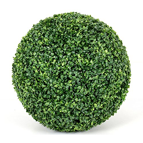 Flikool Seto Bola de Boj Artificial Escultura de Jardín Esfera Decorativa Bola del Poda Verde Hierba Arte de Recortar Plantas Artificiales - 20cm