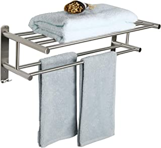 Alise Bathroom Towel Rack Towel Shelf with Two Towel Bars and Double Towel Hooks Wall Mount Towel Holder,GY6000-LS SUS 304 Stainless Steel Brushed Nickel