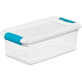 Sterilite 6 Qt./5.7 L Latching Boxes Clears, 6 Quart, White, 12 Piece