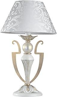 Elegante antike Tischleuchte, Weiße Farbe mit goldener Verzierung, Gemusterter Stoff-Schirm, exkl. 1 E14 40W, 220 V - 240 V