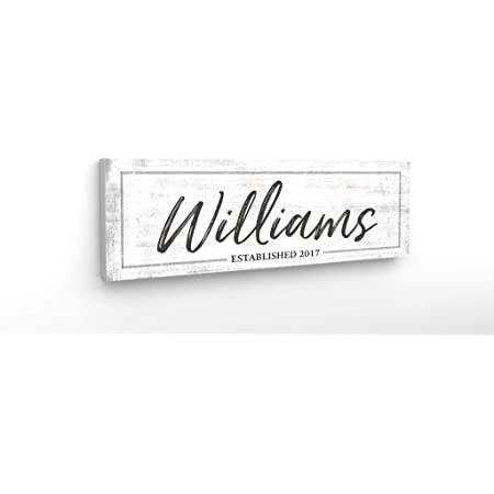 Pretty Perfect Studio Personalized Last Name Sign Custom Family Est Date Canvas Wall Art 12 X 36 Ready To Hang Print Posters Prints